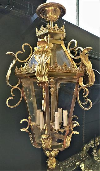 Grande lanterna esagonale 6 luci in ottone bagno oro