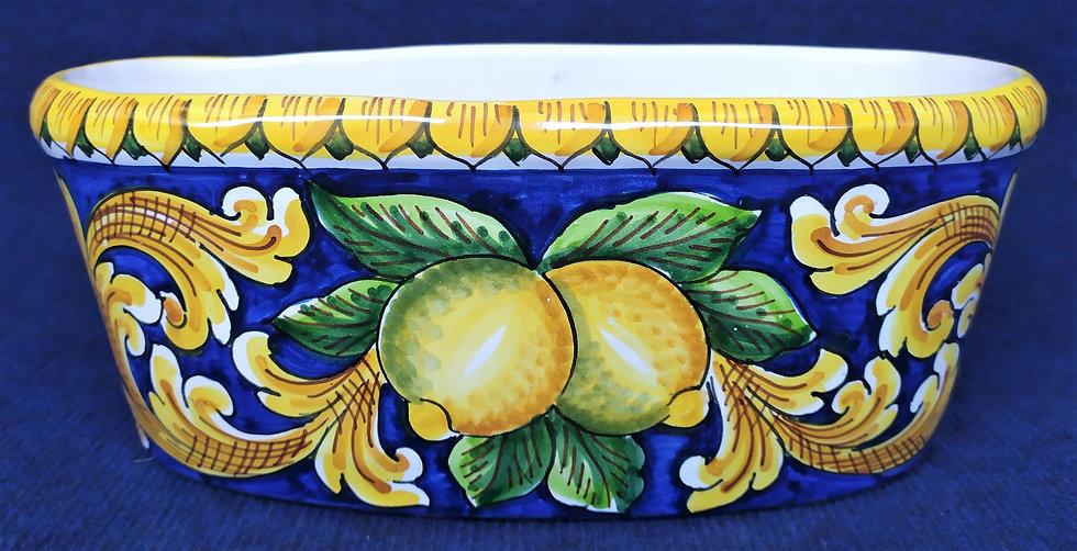 Fioriera ovale con limoni cm 32 - ceramica di Caltagirone