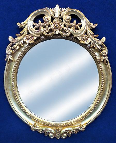 Specchiera tonda in legno foglia oro - Italia 2° metà XX sec.