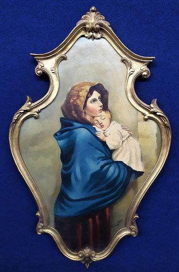 """""""E. Tinelli"""" - olio su pannello """"Madonna con Bambino"""" - 1954"""