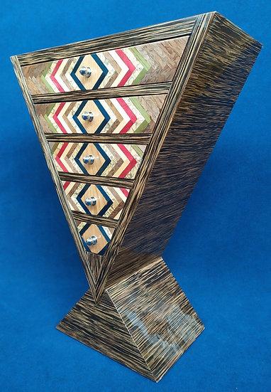 Mobile a triangolo 5 cassetti - stile Art Deco in radica geometrica (B)