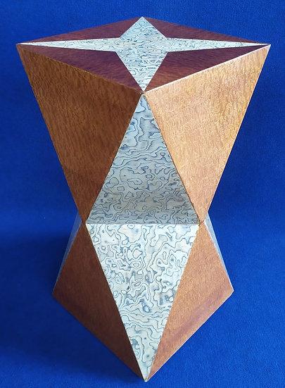 Tavolino colonna poliedrica - stile Art Deco in radiche pregiate (A)