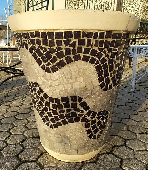 Grande vaso maiolica e cemento cm 60 h