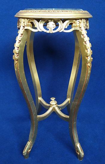 Tavolino in legno foglia oro con top in marmo nero - Italia XX sec.