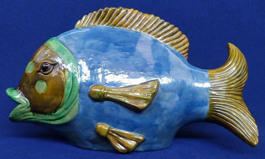 Grande pesce in ceramica policroma smaltata - cm 75