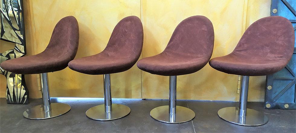 4 sedie design in tessuto e acciaio - Milano anni '70