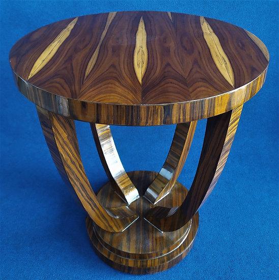 Tavolino tondo stile Art Deco in radica striata