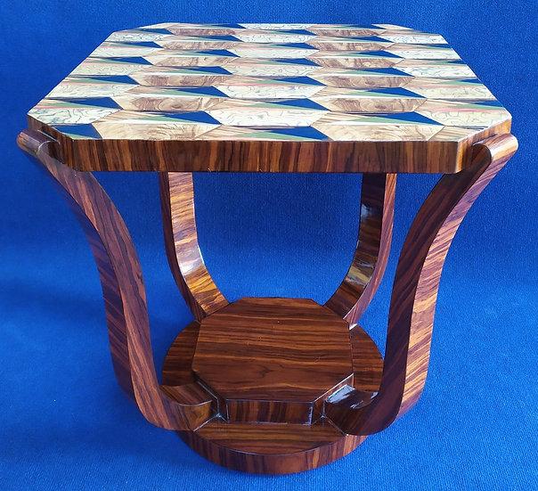 Tavolino quadrato stile Art Deco in radica con motivo geometrico