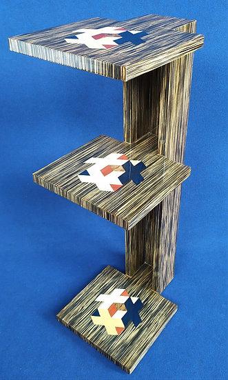 Etagére 3 livelli -cm 120 h- stile Art Deco in radica di zebrano