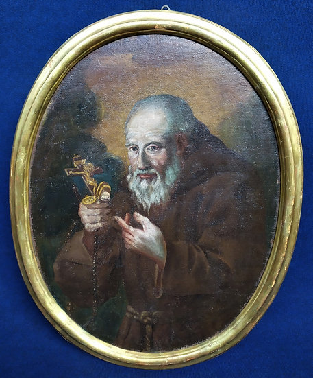 "Dipinto ovale olio su tela ""Frate con crocefisso"" - scuola piemontese XVIII sec."