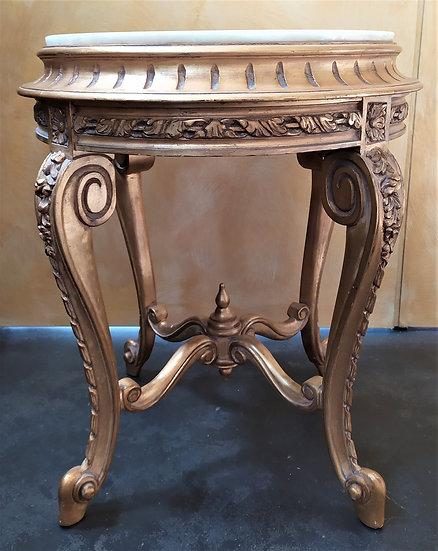 Tavolino in legno dorato e top granito bianco - XX secolo