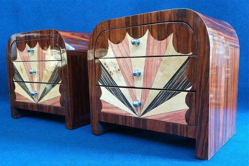Coppia comodini 3 cassetti - stile Art Deco in radica policroma