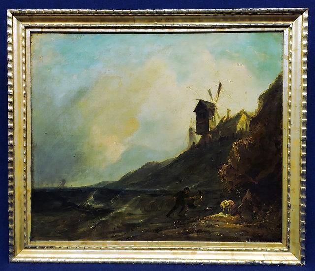"""Dipinto olio su tela """"Trainando la rete"""" - Scuola Olandese XIX sec."""