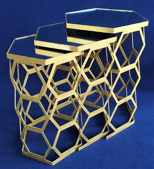 Tris tavolini vintage in metallo dorato e specchi