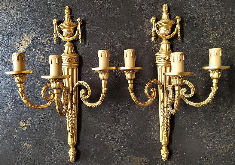 """Coppia di appliques 3 luci in ottone dorato """"L'Originale"""""""