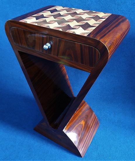 Piccola console 1 cassetto - stile Art Deco in radica geometrica