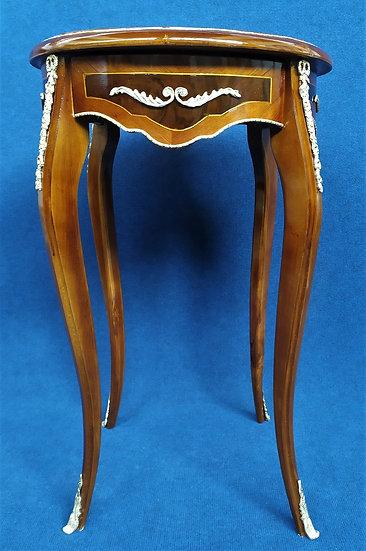 Tavolino in legno e bronzo con cassetto - Italia XX sec.