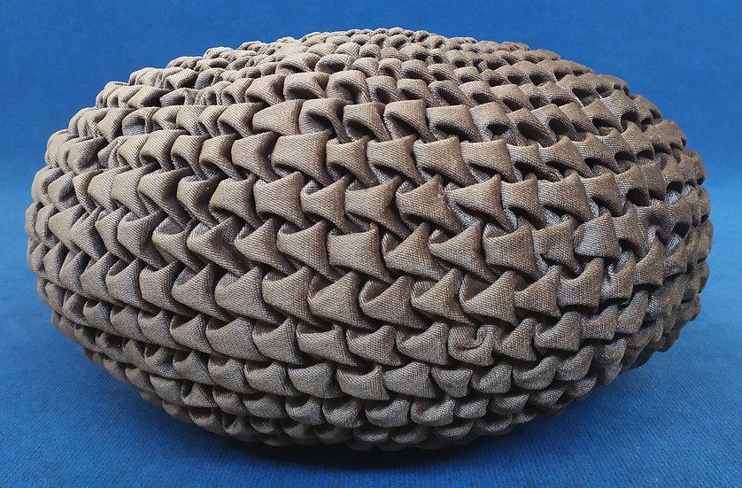 Cuscino/Pouf plissettato in velluto marrone - Ø cm 60