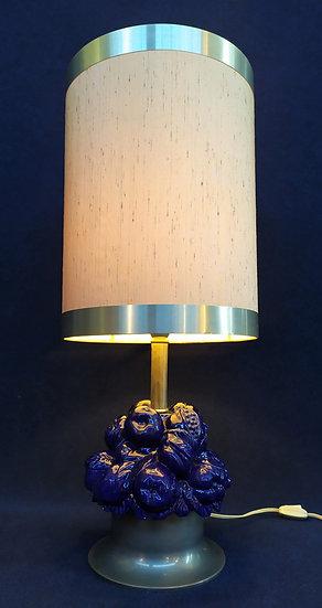 Lampada da tavolo con frutta in ceramica smaltata blu - Italia anni '70