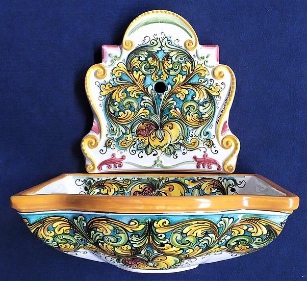 Fontana da muro con agrumi dipinti a mano - ceramica di Caltagirone