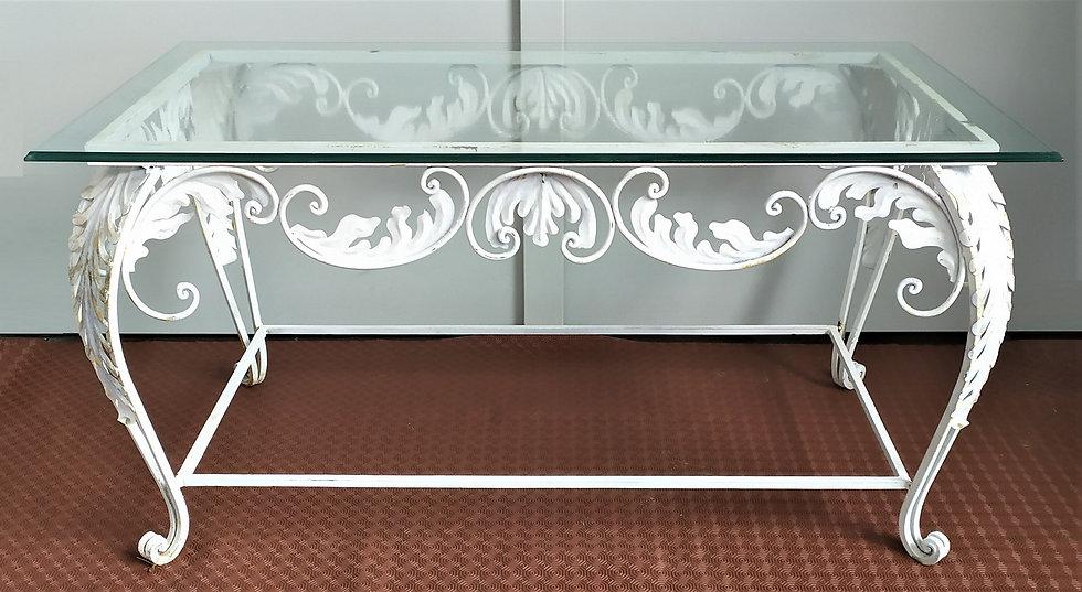 Coffee table liberty in ferro battuto - top in vetro