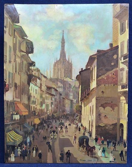 "Dipinto a tempera ""C.so Vittorio Emanuele II - Milano"" - firmato e d.to 1909"