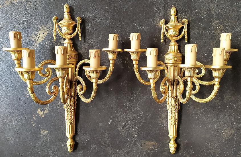 """Coppia di appliques 5 luci in ottone dorato """"L'Originale"""""""