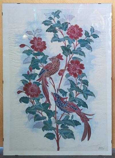 Quadro vintage naturalistico in tessuto - firmato - anni '70