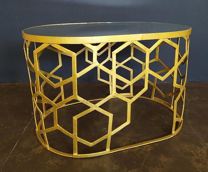 Tavolino ovale vintage in metallo dorato e specchio