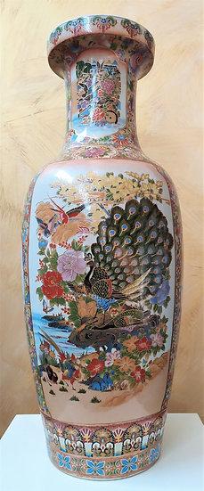 Grande vaso cinese in ceramica policroma - cm 92 h - XX sec.