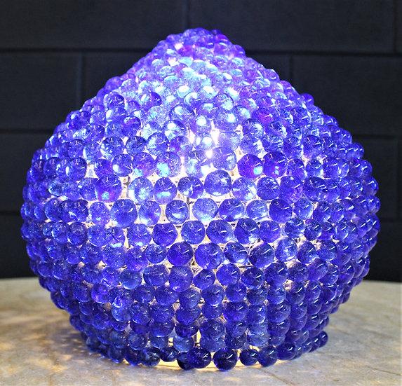 Lampada da tavolo perle vetro blu