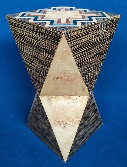 Tavolino colonna poliedrica - stile Art Deco in radiche pregiate (B)