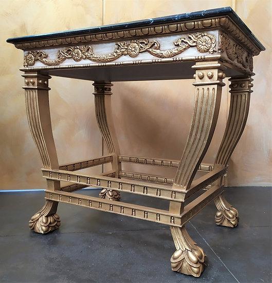 Console stile Luigi XVI in legno dorato e top marmo - XX sec.