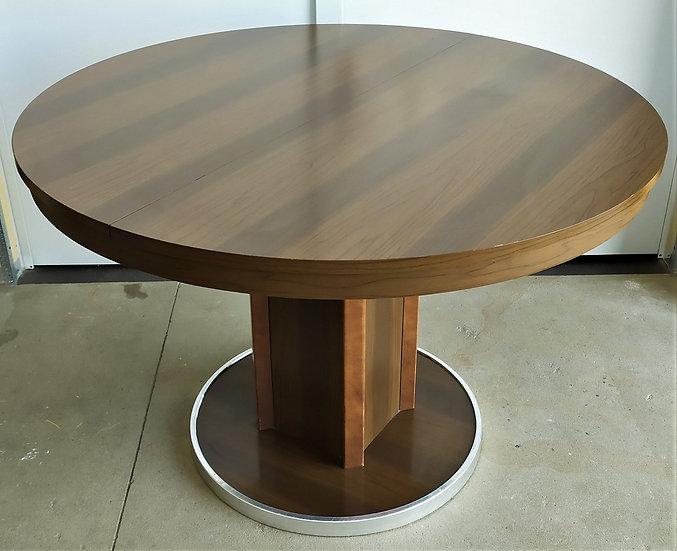 Tavolo tondo allungabile in legno e metallo - Milano anni '70