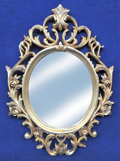 Specchiera ovale in legno foglia oro - Italia 2° metà XX sec.