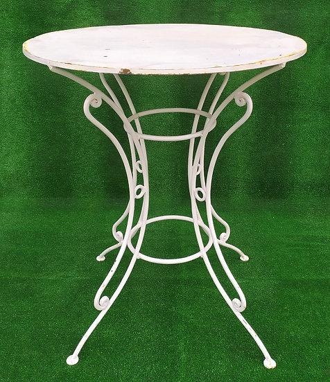 Tavolino bianco in ferro battuto - top in ferro