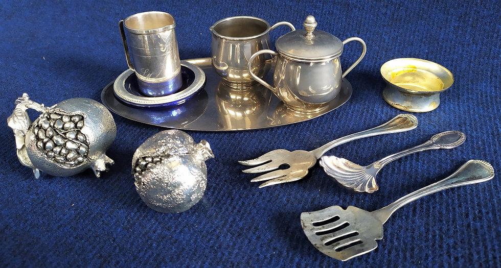 10 oggetti da tavola in metallo argentato - anni '60 '70