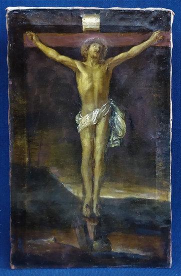 "Dipinto olio su tela ""Crocefissione"" - scuola italiana XVII sec."