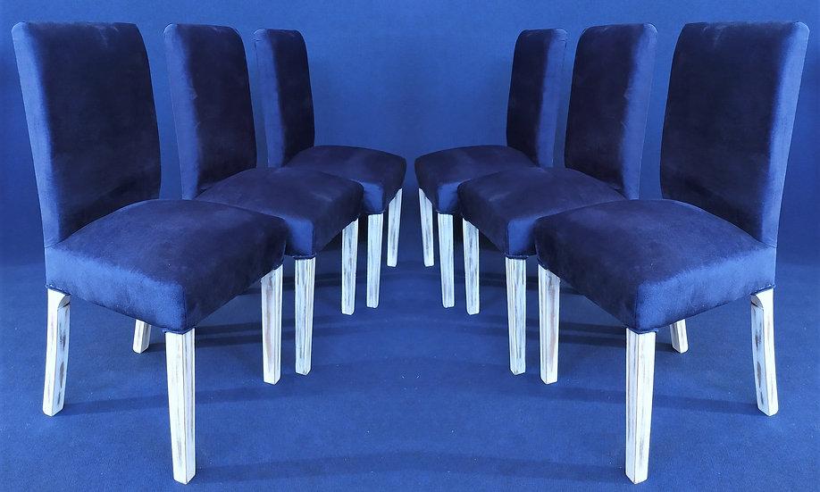 6 sedie design in legno shabby e velluto blu