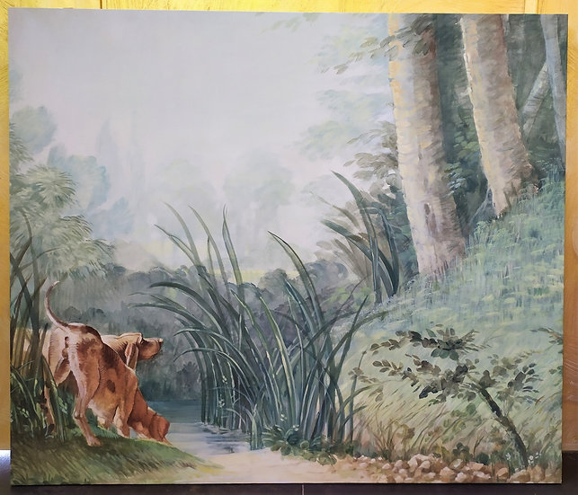 "Grande dipinto su tela ""Segugi nel Bosco"" Italia - XX sec."