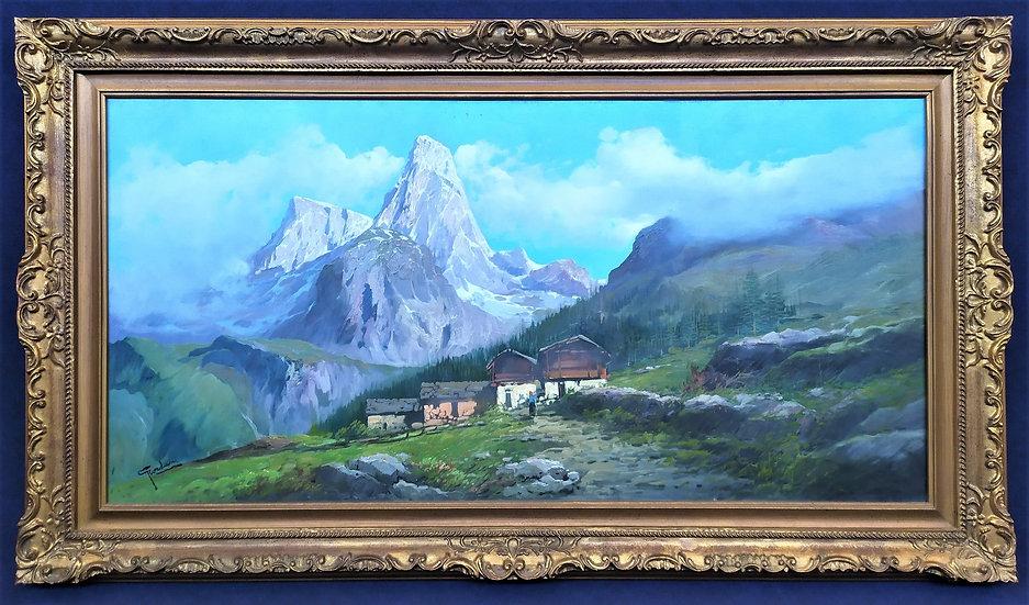 """""""G. Giordani (1884-1969)"""" - grande dipinto olio su tela """"Cima della Pala"""""""