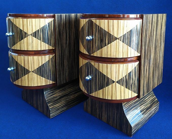Coppia comodini 2 cassetti - stile Art Deco in radica di zebrano