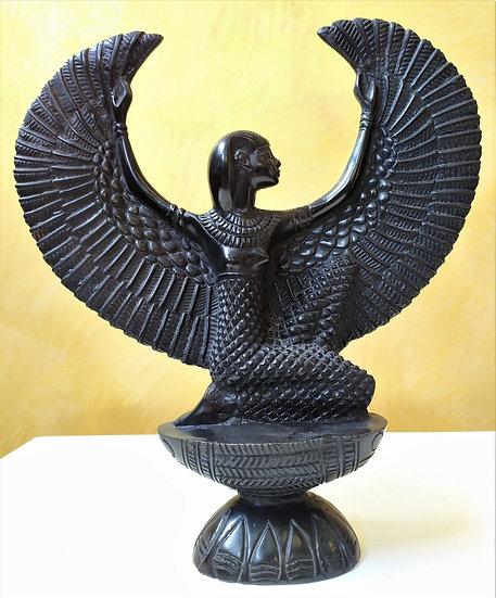 Scultura Iside in resina nera - cm 32 h