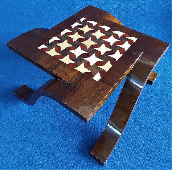 Tavolino design quadro stile Art Deco in radiche a texture