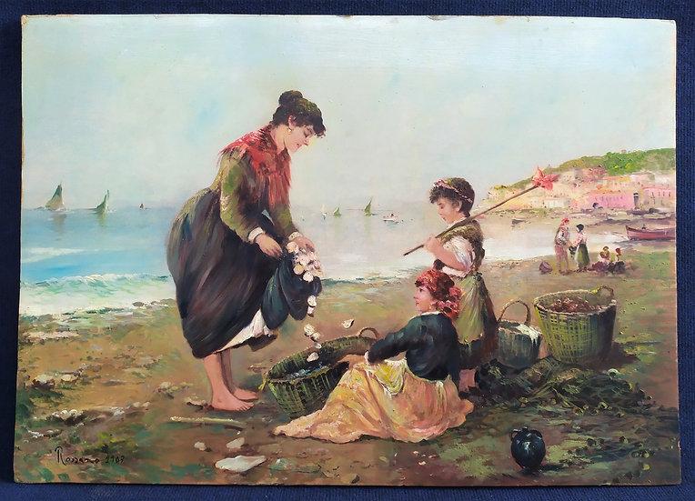 """Dipinto ad olio """"Pescatrici di vongole"""" - firmato """"Rossano"""" 1907"""