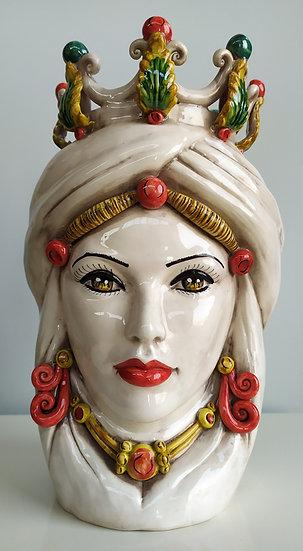 Testa donna con corona cm 36 h - ceramica di Caltagirone