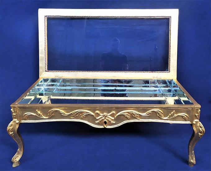 Coffee table in legno dorato, specchio e vetro - Italia metà XX sec.