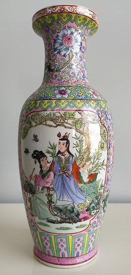 Vaso cinese Famille Rose in ceramica policroma - metà XX sec.