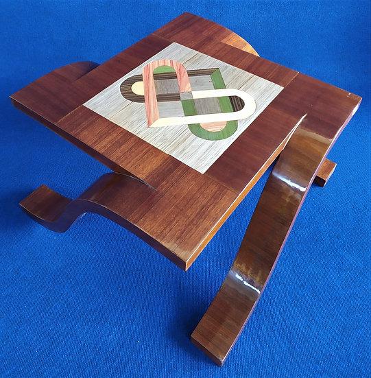 Tavolino design quadro stile Art Deco in radiche policrome
