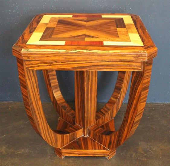 Tavolino quadrato stile Art Deco in radica